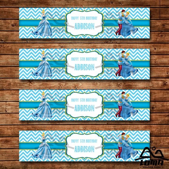 Cinderella Birthday Water Bottle Label, Cinderella Birthday, Disney Princess Water Bottle Label, Cinderella, Prince Charming