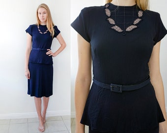 Vintage 40s Navy Blue Dress with Asymmetrical Peplum Skirt and Cute Neckline by Styled by Apex. Size: S/M