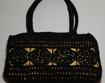 Black and gold color, handmade purse, knitted bag, stylish, elegant, daily and evening purse, noble look