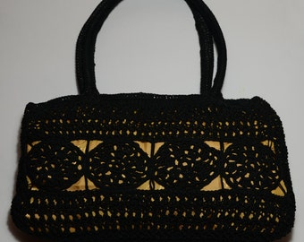 SALE!! Black and gold color, handmade purse, knitted bag, stylish, elegant, daily and evening purse, noble look