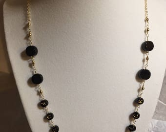 Black beads & 14k gold filled chain mix necklace name optional