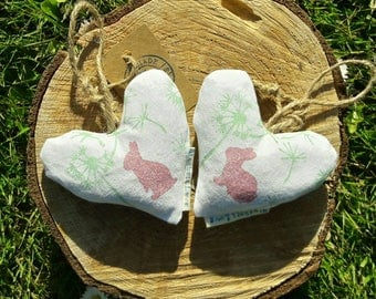 Dandy Hop Lavender Heart, Decorative heart, Lavender sachet, Scented pillow, Rabbits, Dandelions