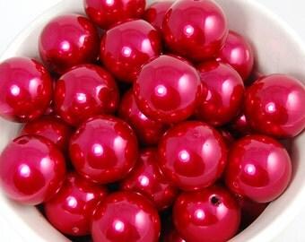 20 pcs Chunky Bubblegum Beads 20mm Rose Red Pearl 20pcs