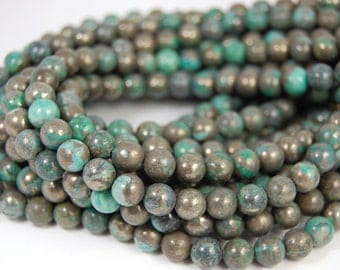 """Two 15.5"""" strands, Turquoise Pyrite Beads , 8mm Round"""