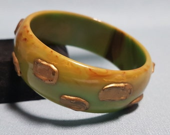 Bakelite Olive Green Bangle with Gold Accents