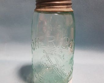 American Porcelain Lined Mason Jar with Zinc Lid, Hazel Atlas Lid