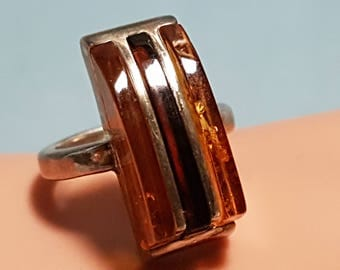 Genuine Amber Ring in Sterling Silver Setting