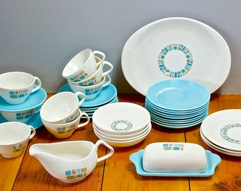 "Mid Century Modern Atomic 6.5"" Blue Bread & Butter Plate-Canonsburg-Temporama-Vintage Ceramic Pottery-Atomic Dishes-Atomic Era-Retro Kitchen"