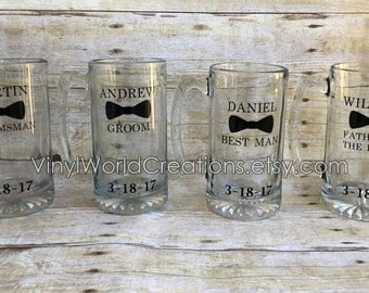 Set of 4 Bridal party mugs, Groom, best man, groomsman, and father of the bride mugs, customized beer mug, personalized vinyl beer mugs