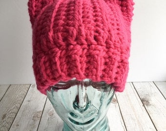 Chunky pink pussyhat, pink pussyhat, hot pink pussyhat, chunky pussyhat, pussyhat project, pink cat ears hat, women's march, pink kitty hat,