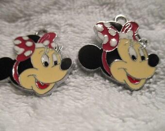 Set 0f 2 Minnie Mouse Charms