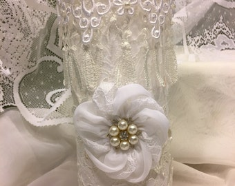 Lace covered candle holder