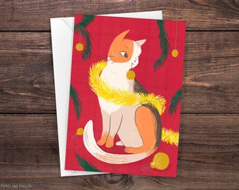 Cute Kitty Cat - Illustrated Christmas Greeting Card