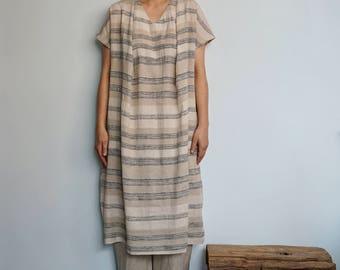 Oversized Loose Fitting Striped Linen Cotton Gauze Dress-Drop Shoulder Sleeves