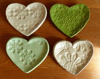 Kunstkeramik, Keramik, Herz, Schale, Schmuck, Hochzeit, Handarbeit, ceramics, pottery, ring dish, heart, clayart, handmade, unique, gift