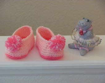 Little Girl Pink Crochet Booties, Pink Crochet Baby Slippers, Pink Baby Booties, Pompoms, 9-12 Months, Pompom Slippers, Baby Shower Gift