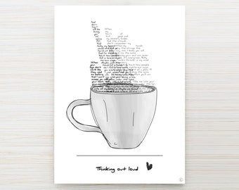 Map mug 'love song' thinking out loud - customizable