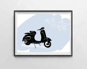 Vespa card - flowers and spring
