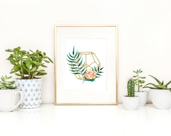 Print of a geometrical box containing pink flower and green leaves  / botanical design / tropical / minimalist style