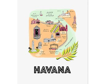 Havana Cuba Map / Illustrated Map/ Havana Art Print