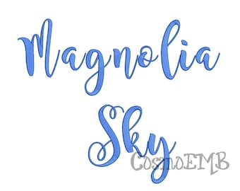 4 Size Magnolia Sky  font Embroidery Design Machine Embroidery - Digital INSTANT DOWNLOAD