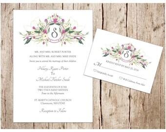 Purple Floral Crest Wedding Invitation & RSVP Set, DIY/Printable