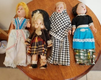 lot of 4 x vintage dolls