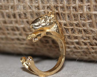 Bronze dog ring 18 k