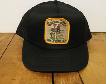 QUILCHENA Cattle Co BC Cap Hat Black Vintage Trucker Mesh Snapback