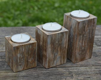 Wooden rustic tealight candle holder set wood tealight candle holder centerpiece triple set reclaimed wood wooden candle tealight holders