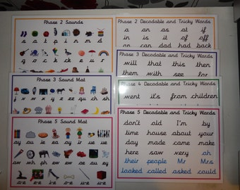 Phonics A4 Word/sound Mats - CURSIVE FONT - Phases 2 -5 - Letters and Sounds