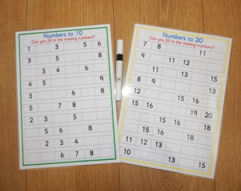 Numeracy reusable worksheets, missing numbers, 0-10, 0-20,  EYFS, KS1, Numeracy, maths, numbers, teaching resource, learning, educational
