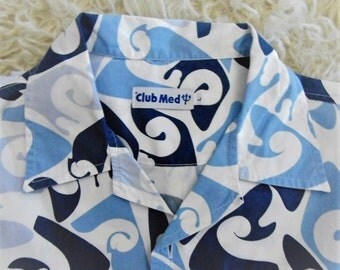 Club Med.Shirt collector with waves for surf, gold completed sportsman, holidays 90' club shirt Med.collector/with waves, for surfeur.90'
