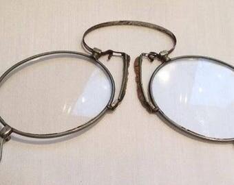 pince nez eyeglasses 1920's silve tone theater costume steampunk reenactment