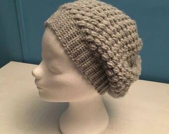Wide hat, crochet in grey
