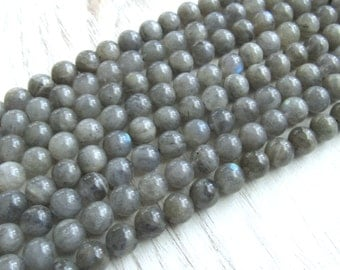6mm Labradorite beads, full strand, labradorite gemstone, gray gemstone beads, labradorite beads, US seller, bracelet beads, mala beads