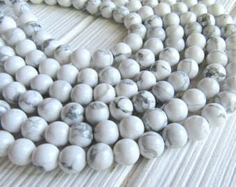 8mm Howlite beads, full strand, white howlite beads, white beads, gray beads, 8mm gemstones, gemstone strand, US seller, jewelry supplies
