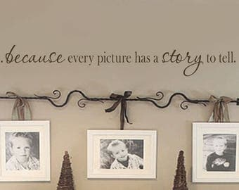 Because Every Picture Has A Story To Tell Wall Decal - Photo Frame Decals - Family Wall Decal - Picture Frame Decal