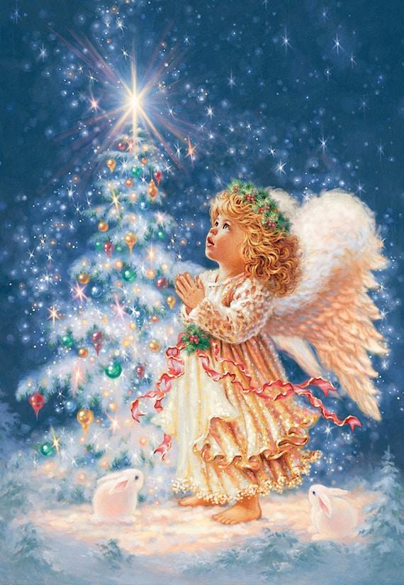 Angel Counted Cross Stitch Pattern Christmas Embroidery Chart Printable PDF Large Cross Stitch Design Christmas Tree Cross Stitch Chart