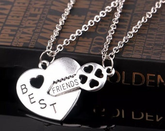 Best friends silver necklace