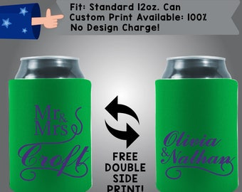 Mr Mrs Name Names Collapsible Fabric Wedding Can Coolers, Cheap Can Coolers Wedding Favors (W218)