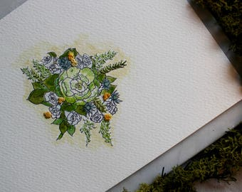 Wedding Hand Tie Embroidered Watercolour Painting