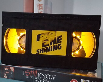 Retro VHS The Shining Scifi Night Light Table Lamp, Horror Movie . Order any movie! Great personal gift. Man Cave, Office, Bedroom! Custom!