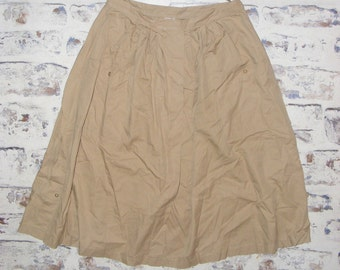 Size 10 12 W29 vintage 80s midi gathered pocket peasant skirt taupe (GT93)