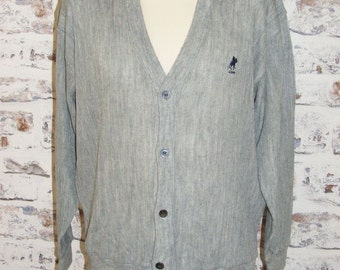 "Size L 42"" US Polo Assoc vintage 80s v neck button cardigan grey (GP61)"