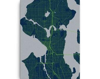Seattle Seahawks Map Canvas Print Wall Art