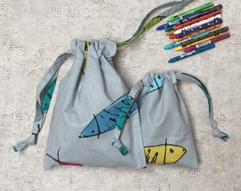 Kit 2 smallbags - unique - gray fabric fish colors - 2 sizes - cotton bag - for: kids & travel storage