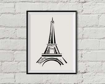 Eiffel Tower  Paris   Printable Wall Art   INSTANT DOWNLOAD  Black and White