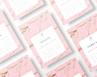 Pink Marble Calendar 2017, 2017 Wall Calendar Printable, Printable Calendar 2017, 2017 Printable Wall Calendar, 2017 DIY Monthly Calendar