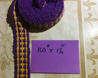 Inkle Trim (Purple and Yellow) 100 Inches